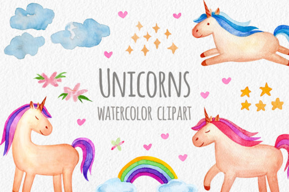 Watercolor Unicorns. Cliparts, Patterns Graphic Objects By Slastick