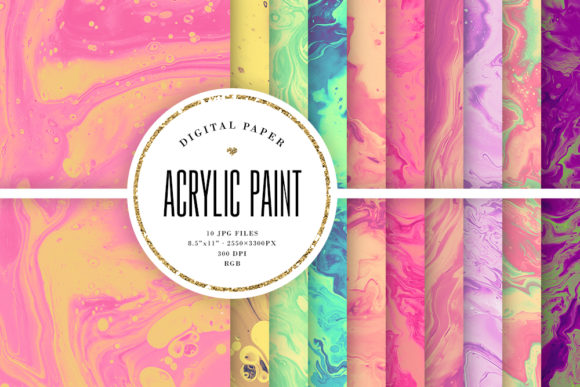 Print on Demand: Wet Paint Backgrounds - Acrylic Paint Graphic Textures By Sabina Leja