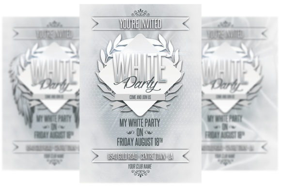 Download Free White Party Invitation Graphic By Matthew Design Creative Fabrica for Cricut Explore, Silhouette and other cutting machines.