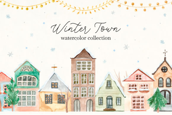 Winter Town. Watercolor Collection Graphic Illustrations By Slastick
