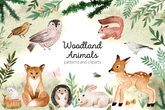 Woodland Animals. Patterns and Cliparts Graphic Objects By Slastick