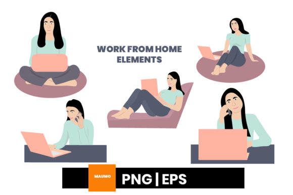 Print on Demand: Work from Home Elements Graphic Illustrations By Maumo Designs