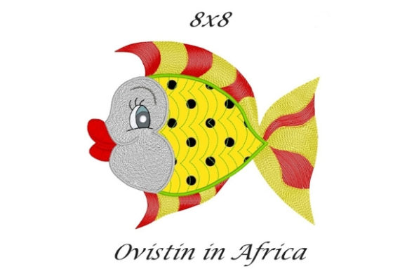 Yellow Sassy Applique Fish Fish & Shells Embroidery Design By Ovistin in Africa