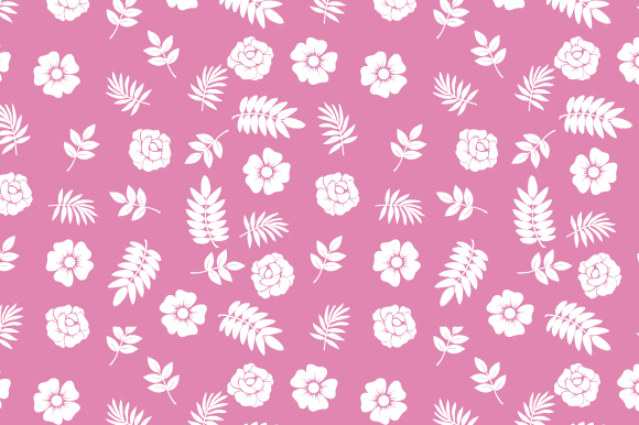 Download Free Flower And Leaf Pattern With Pink Color Graphic By Curutdesign for Cricut Explore, Silhouette and other cutting machines.