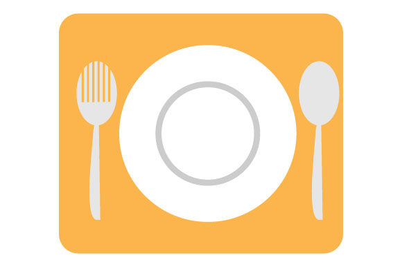 Download Free Fork Plates On A Wooden Cutting Board Graphic By Yapivector for Cricut Explore, Silhouette and other cutting machines.