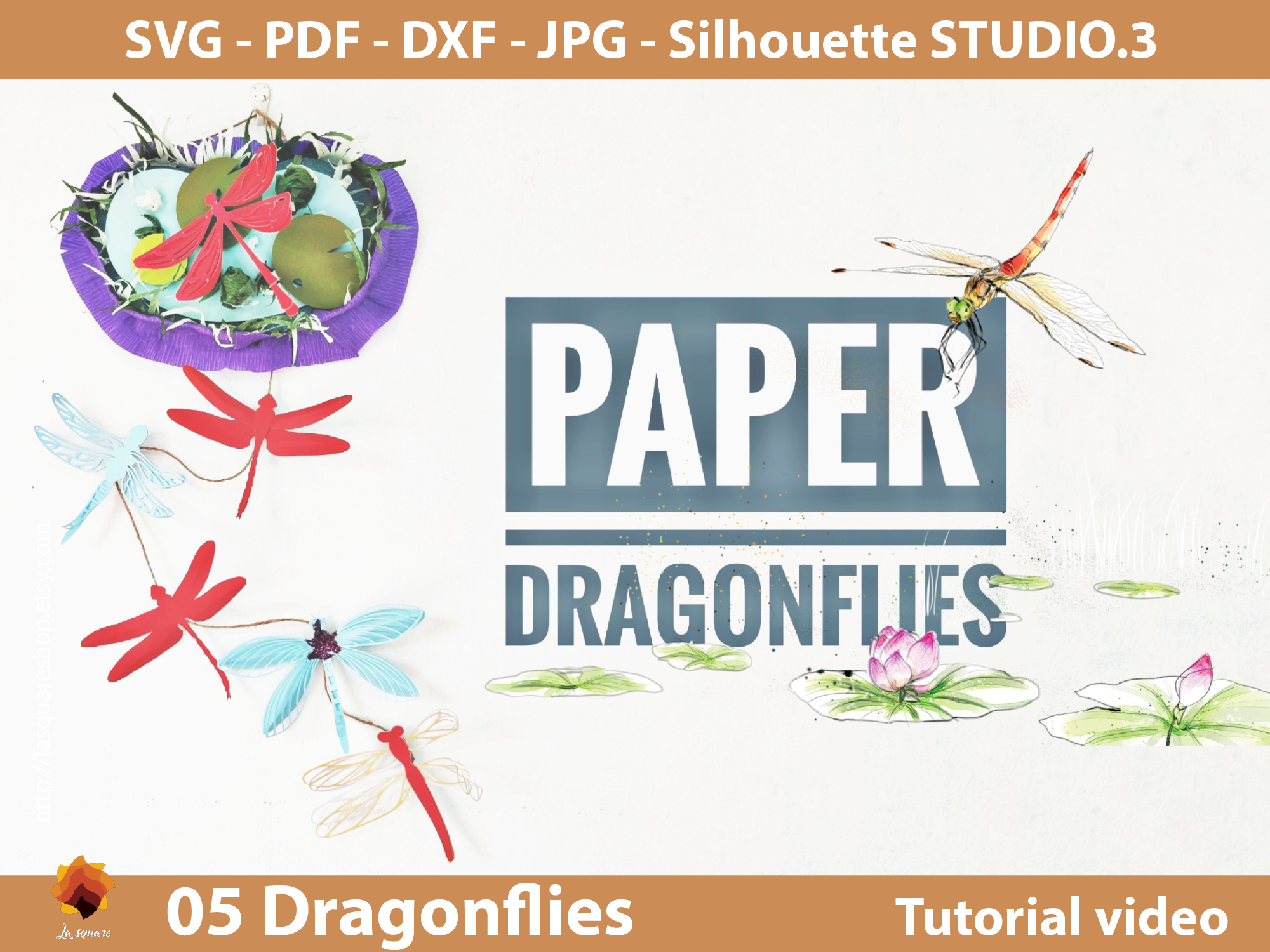 Download Free 05 Diy Paper Dragonfly Templates Graphic By Lasquare Info for Cricut Explore, Silhouette and other cutting machines.