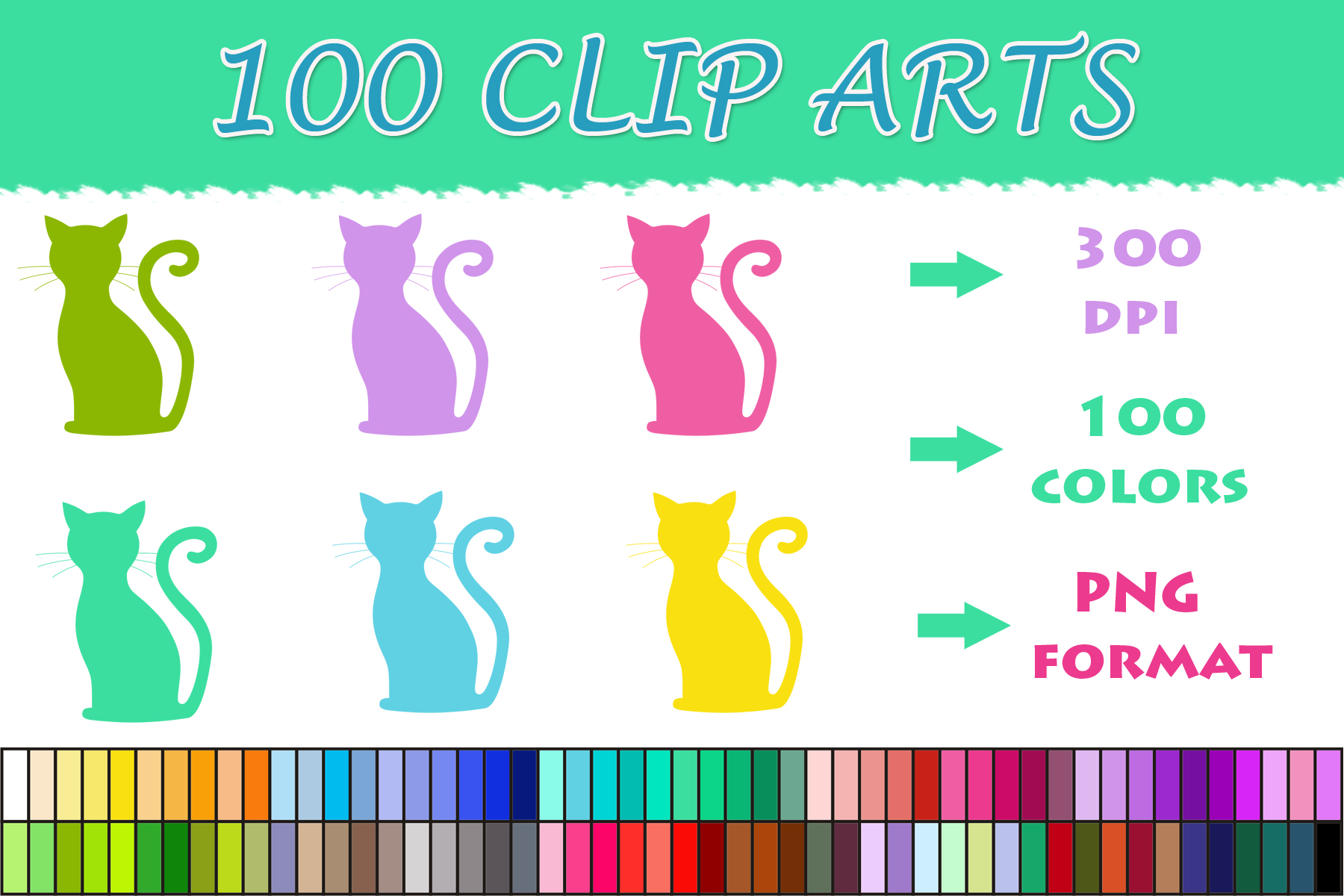 Download Free 100 Cat Clip Art Graphic By Sweetdesign Creative Fabrica for Cricut Explore, Silhouette and other cutting machines.