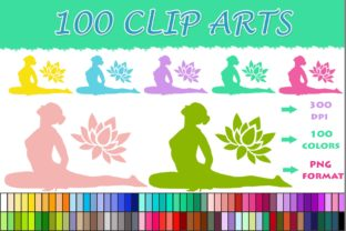 100 Yoga Clip Art Graphic Illustrations By SweetDesign