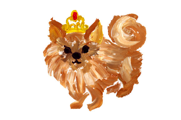 Pomeranian with Tiara Dogs Craft Cut File By Creative Fabrica Crafts