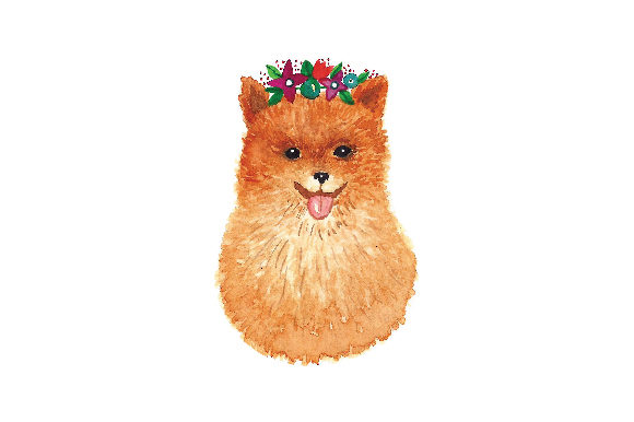 Pomeranian with Tiara in Flowers Dogs Craft Cut File By Creative Fabrica Crafts