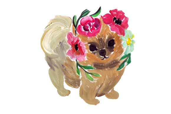 Pomeranian in Flowers Dogs Craft Cut File By Creative Fabrica Crafts