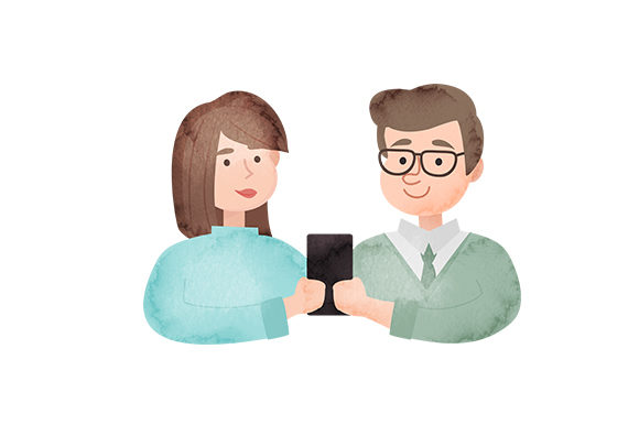 Download Free Couple Looking At A Phone Svg Cut File By Creative Fabrica for Cricut Explore, Silhouette and other cutting machines.