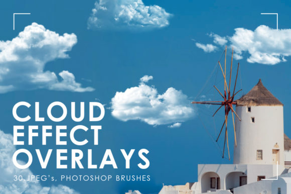 30 Realistic Cloud Overlays Graphic Brushes By NassyArt