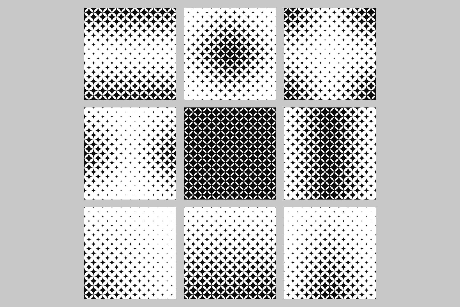 Download Free 9 Monochrome Patterns Graphic By Davidzydd Creative Fabrica for Cricut Explore, Silhouette and other cutting machines.