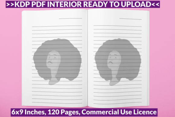 Download Free Afro Hair Woman Journal Paper Ready Kdp Graphic By Pod Emporium for Cricut Explore, Silhouette and other cutting machines.