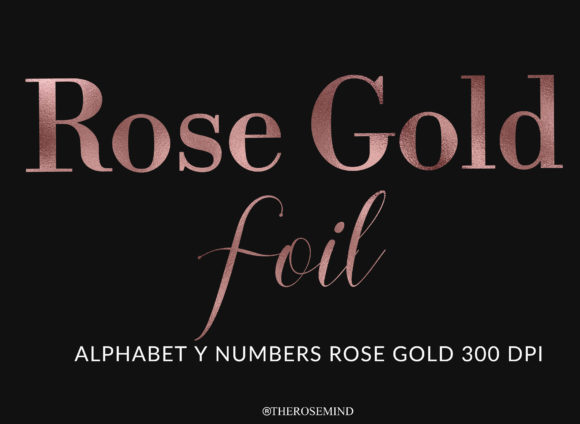 Print on Demand: Alphabet and Numbers Rose Gold Foil Graphic Illustrations By TheRoseMind