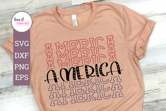 Print on Demand: America Mirror Word Cut File Graphic Crafts By Love It Mirrored