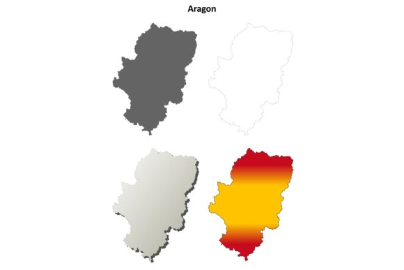 Download Free Aragon Outline Map Set Graphic By Davidzydd Creative Fabrica for Cricut Explore, Silhouette and other cutting machines.