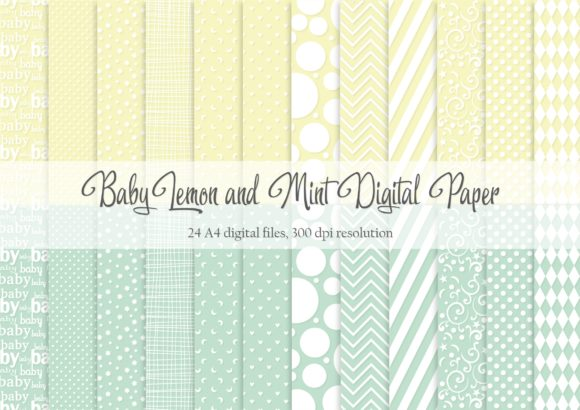 Print on Demand: Baby Lemon and Mint Digital Paper Graphic Patterns By Simply Paper Craft