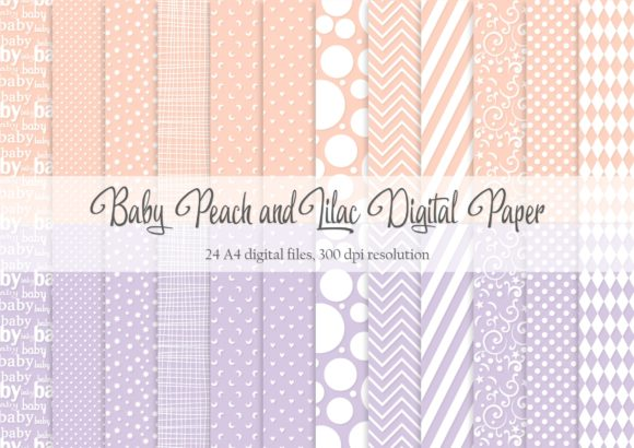 Download Free Baby Peach And Lilac Digital Paper Graphic By Simply Paper Craft for Cricut Explore, Silhouette and other cutting machines.