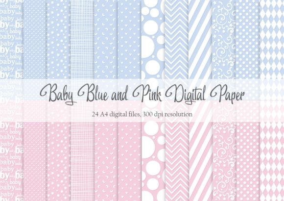 Print on Demand: Baby Pink and Blue Digital Paper Graphic Patterns By Simply Paper Craft