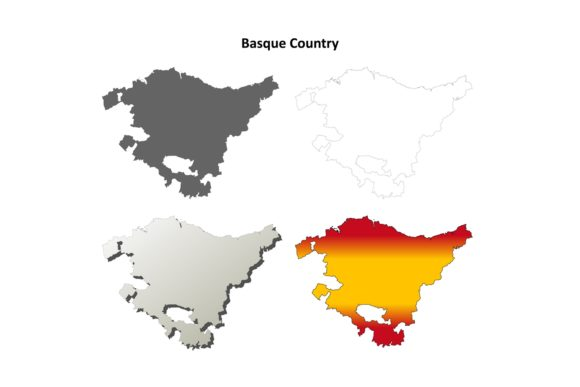 Download Free Basque Country Outline Map Set Graphic By Davidzydd Creative Fabrica for Cricut Explore, Silhouette and other cutting machines.