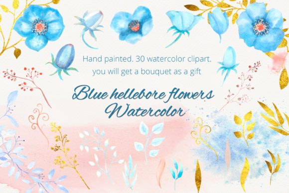 Print on Demand: Blue Hellebore Flowers. Watercolor Graphic Illustrations By Natika_art