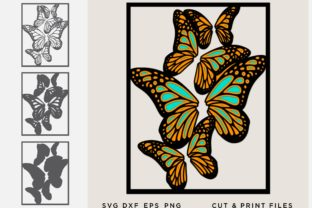 Butterfly Layered Cut File Graphic 3D SVG By 2dooart