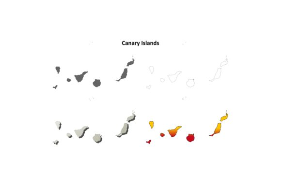 Download Free Canary Islands Outline Map Set Graphic By Davidzydd Creative for Cricut Explore, Silhouette and other cutting machines.