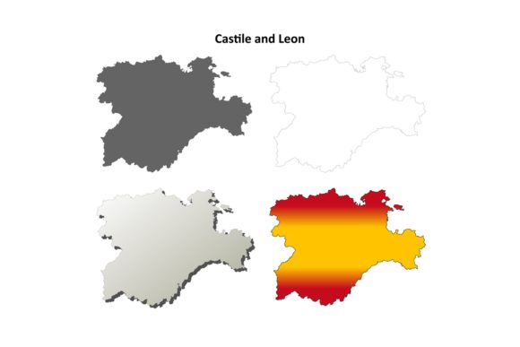 Download Free Castile And Leon Outline Map Set Graphic By Davidzydd Creative for Cricut Explore, Silhouette and other cutting machines.
