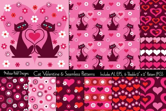 Download Free Cat Valentine Seamless Patterns Graphic By Melissa Held for Cricut Explore, Silhouette and other cutting machines.
