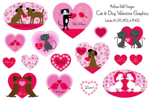 Download Free Cat And Dog Valentines Graphics Graphic By Melissa Held Designs for Cricut Explore, Silhouette and other cutting machines.