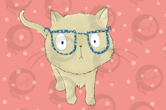 Cat with Glasses Graphic Illustrations By Jen Digital Art