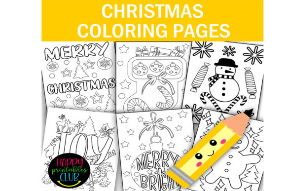 Download Free Christmas Coloring Pages Christmas Graphic By Happy Printables for Cricut Explore, Silhouette and other cutting machines.