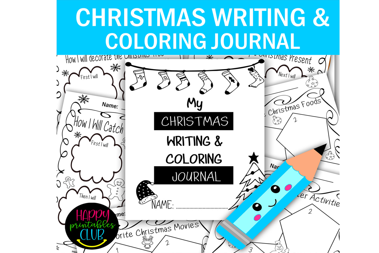 Christmas Writing And Coloring Journal Graphic By Happy