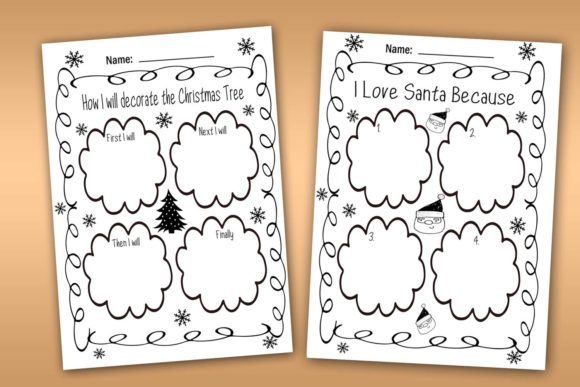 Download Free Christmas Writing And Coloring Journal Graphic By Happy for Cricut Explore, Silhouette and other cutting machines.