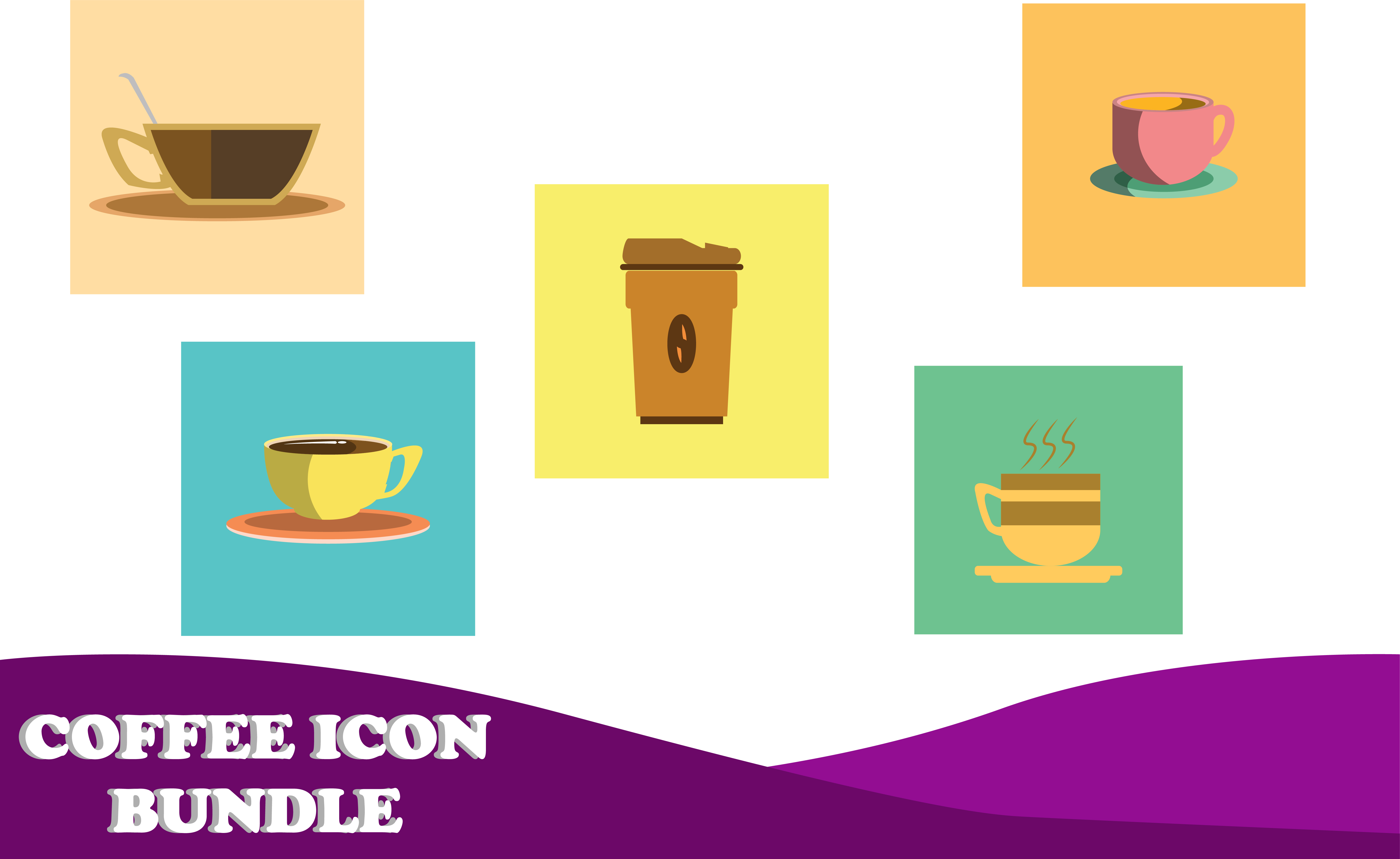 Download Free Coffee Icon Vector Design Set Graphic By Purplebubble Creative for Cricut Explore, Silhouette and other cutting machines.