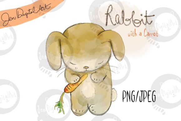 Cute Rabbit with a Carrot Graphic Illustrations By Jen Digital Art