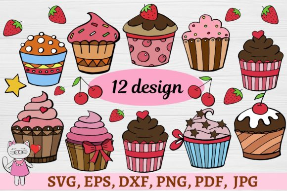 Print on Demand: Cute Set Cupcakes Clipart - Vector Graphic Illustrations By  Magic world of design