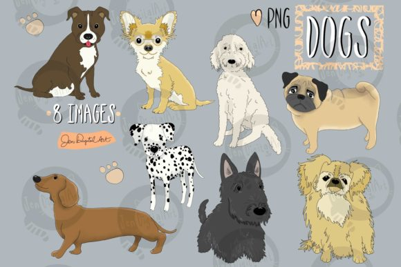 Dogs Graphic Illustrations By Jen Digital Art
