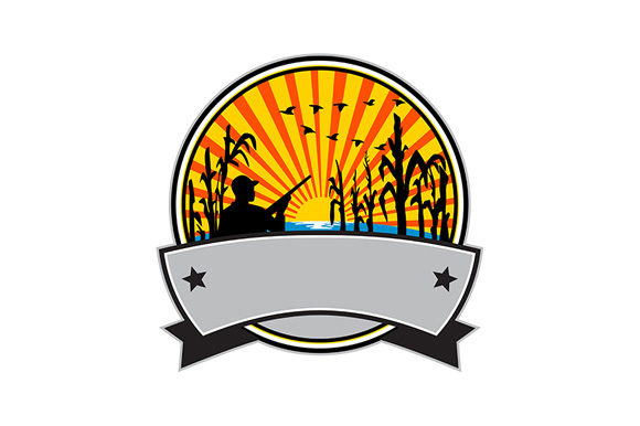 Download Free Duck Hunter In Cornfield Circle Retro Graphic By Patrimonio for Cricut Explore, Silhouette and other cutting machines.