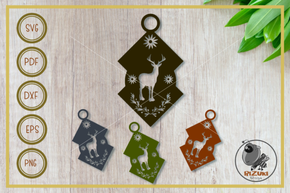 Earring Deer Lantern Silhouette Graphic Crafts By RIZUKI Store