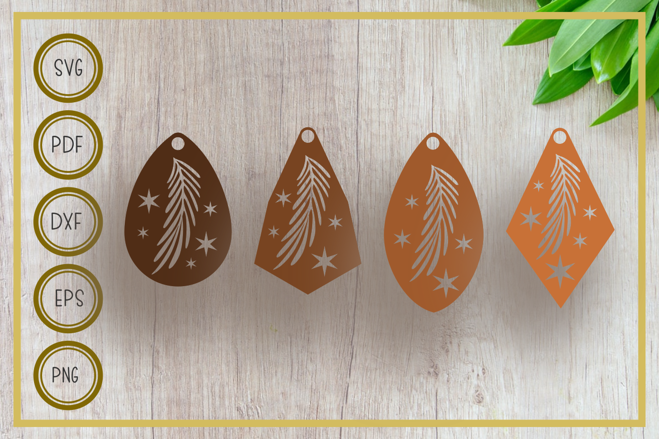 Download Free Earring Leaves Silhouette Graphic By Rizuki Store Creative Fabrica for Cricut Explore, Silhouette and other cutting machines.