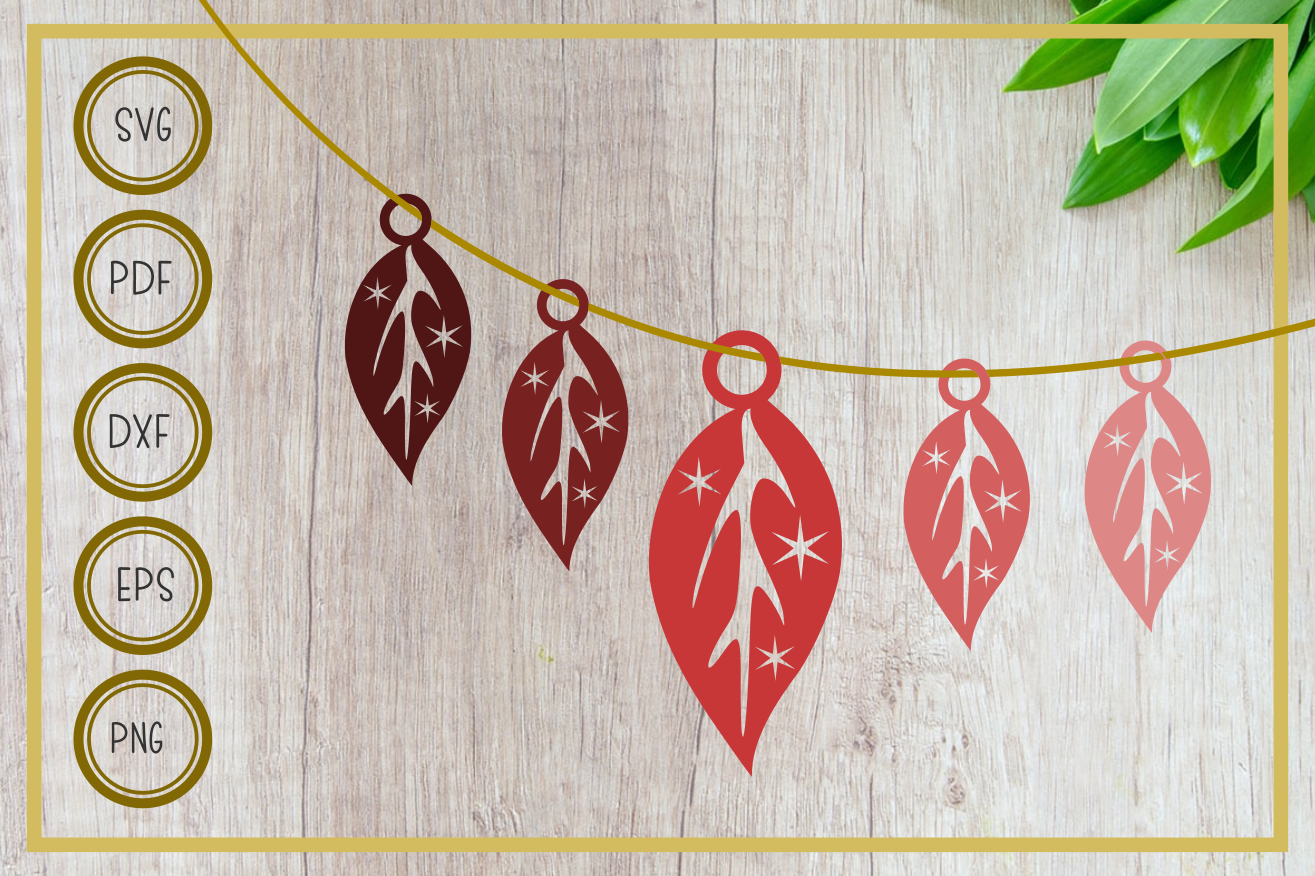 Download Free Earring Single Leaf Graphic By Rizuki Store Creative Fabrica for Cricut Explore, Silhouette and other cutting machines.