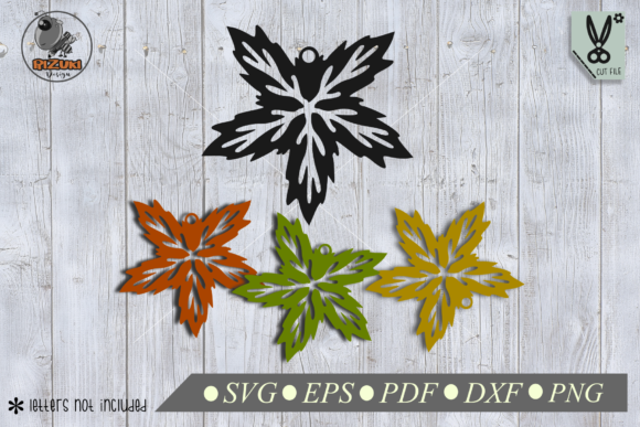 Earring Star Leaf Silhouette Graphic Crafts By RIZUKI Store