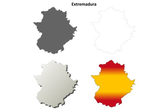 Download Free Extremadura Outline Map Set Graphic By Davidzydd Creative Fabrica for Cricut Explore, Silhouette and other cutting machines.