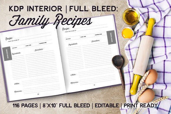 Print on Demand: Family Recipe Book Interior - Full Bleed Graphic KDP Interiors By Mellbelle
