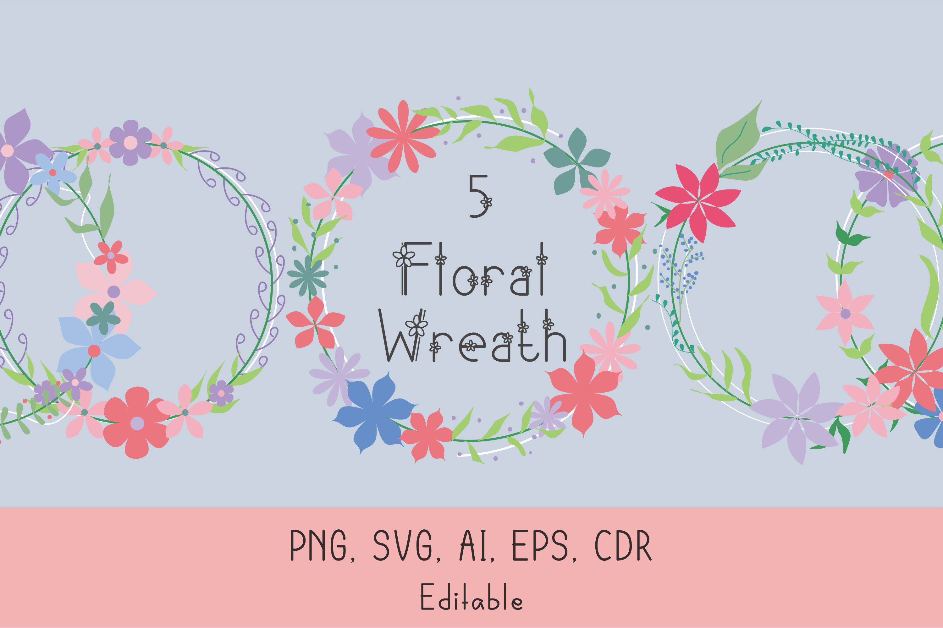 Download Free Floral Wreath Graphic By Nuraisyahamalia1729 Creative Fabrica SVG Cut Files