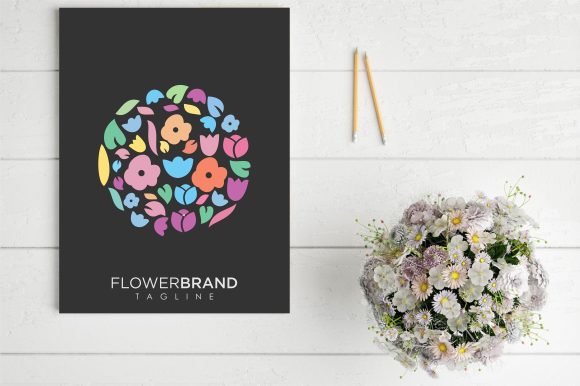Download Free Flower Shop Logo Colorful Template Graphic By Blueberry 99d for Cricut Explore, Silhouette and other cutting machines.