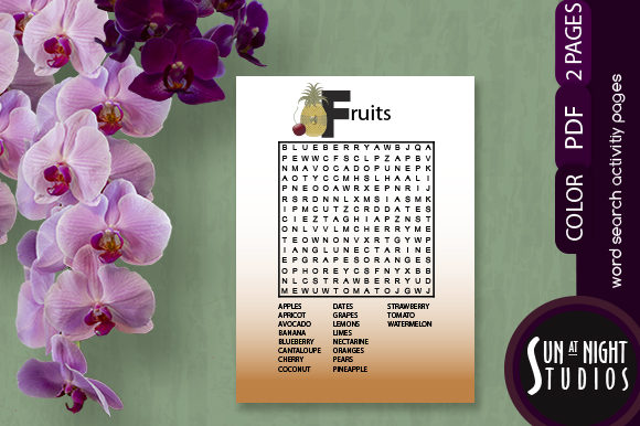 Fruits Word Search Activity Graphic Teaching Materials By Sun At Night Studios
